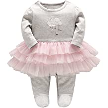 Bebé Niñas Mameluco Tutú Pijama Peleles Infante Tuta Outfits Cumpleaños Princesa Trajes para 0-24 Meses