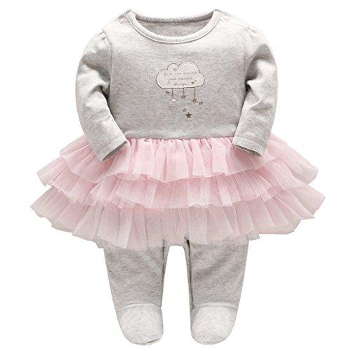 Baby Mädchen Tütü Strampler Gestreift Spielanzug Langarm Overalls Schlafanzug Säugling Outfits, 12-18 Monate (Nettes Schlafanzug Mädchen)