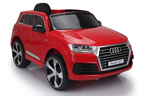 Coche eléctrico para niños Audi Q7 Quattro Nuevo, Rojo, con Licencia Original, Batería, Puertas Que se Abren, Asiento Individual, 2 x Motor, Batería de 12 V, Control Remoto de 2.4 GHz (Rojo)