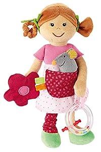Sigikid 40882 Chica, muñeca de Trapo Despierto y Peluche, Rosa / Beige / Verde