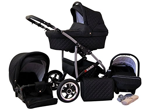 Lux4Kids Kinderwagen Komplettset (Autositz & Adapter, Regenschutz, Moskitonetz, Schwenkräder; 9 Farben) 06 Schwarz Q-Bus