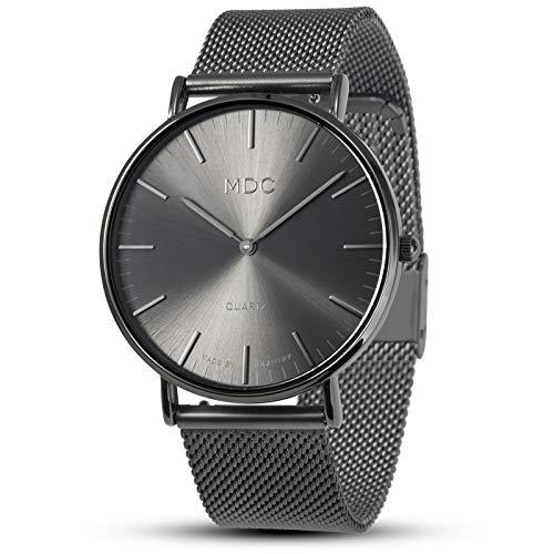 MDC Herren Uhr Armbanduhr Männer Schwarz Uhren Herrenuhr Edelstahl Ultra-flach Metall Mesh Armband Slim-Uhr