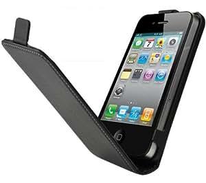 Muvit MUCCPSLIP4G001 Etui Clapet d'Ouverture Clamshell Ultra-fin avec Film de protection d'écran pour iPhone 4 Noir