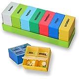 Píldora caja organizador con semanal 7 días AM y PM noche /recordatorio de viaje Vitamina caso/soporte/dispensador de medicamentos contenedor, – incluye píldora cortador/divisor
