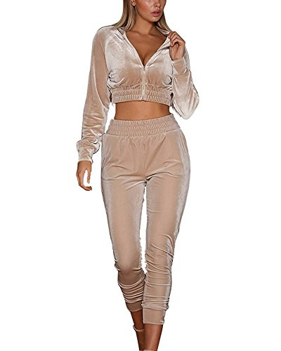 Minetom Femmes Velours Ensemble Survêtement Manche Longue Veste Blouson  Sweat-Shirt à Capuche Jogging Pantalon Sports Suits 2pcs 9745f2fc2a5