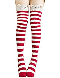 Knee High Socks Fuzzy Socks Stripe Fleece Leg Warmers Thigh High for Women Girls