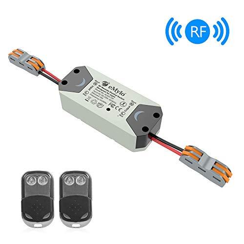 eMylo RF Wireless Smart Switch Home Mit HF-Empfänger Fernbedienung Smart Timing Switch Wireless Control für intelligente Hausautomationslösung 110-240V mit 2 Sendern - Hf-empfänger
