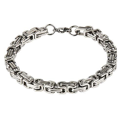 Imagen de sungpunet  pulsera de acero inoxidable para hombre, 8 mm, tono plateado alternativa