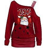 Noël,MORCHAN Femmes Mode Encolure Père Noël imprimé à Manches Longues T-Shirts de Pulls Molletonnés(Vin Rouge/XXX-Large)