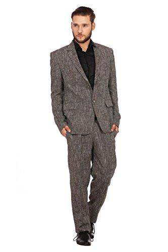 Wintage Herren Leinen Kerbe Revers Zwei: Stück Anzug: Brown, S (Leinen-anzug Stück 2)