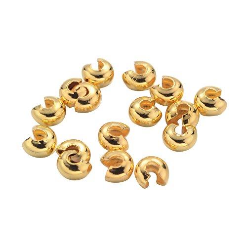 nbeads Distanzhalter Vergoldet Eisen 3mm Quetschperlen, Cadmium und Nickel frei & Blei FREI; Loch: 1,2~ 1,5mm