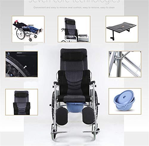 BUDAOWENG Sedia a rotelle Professionale, Sedia a rotelle automotore, Struttura Leggera e Pieghevole, Sedia a rotelle con operatore a Bordo, Sedia da Viaggio Portatile,Leather