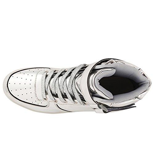 FLARUT LED Schuhe High Top Light Up Sneakers USB Aufladung Blinkende Schuhe Mit Fernbedienung Für Frauen Männer Kinder Jungen Mädchen Silber
