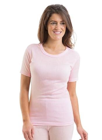 2 Womens Jacquard Rib Short Sleeve Thermal Vest Underwear Pink, 8-10
