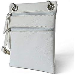 TIBES Pequeño bolso de hombro Bolso Crossbody Monedero para mujer C blanco