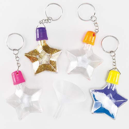 Baker Ross Sandkunst-Schlüsselanhänger - Stern - zum Basteln für Kinder - toller Schmuck für Taschen - 5 Stück