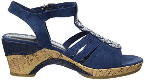 Marco Tozzi Damen 28005 Offene Sandalen mit Keilabsatz Blau (OCEAN 803)