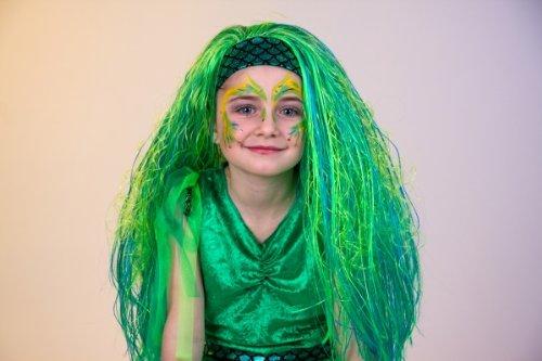Perücke Meerjungfrau Mädchen Kostüm - Festartikel Müller Karneval Mädchen Perücke Nixe türkis zum Meerjungfrau Kostüm
