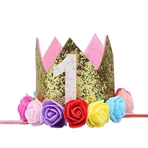 Sunlera Baby-Jungen-Geburtstags-Blumen-Partei-Kappen-Stirnband 1/2 1 2 3 Jahr Anzahl Newborn Geburtstags-Hut