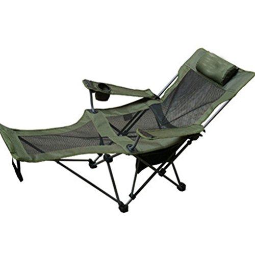 Campingstühle Portable Verstellbarer Sicherheitsgurt mit Rückenlehne Klappstühle Atmungsaktives Mesh-Gewebe aus 600D Dickem Oxford-Stoff Angelstühle Freizeit Im Freien Strandkorb, Grün