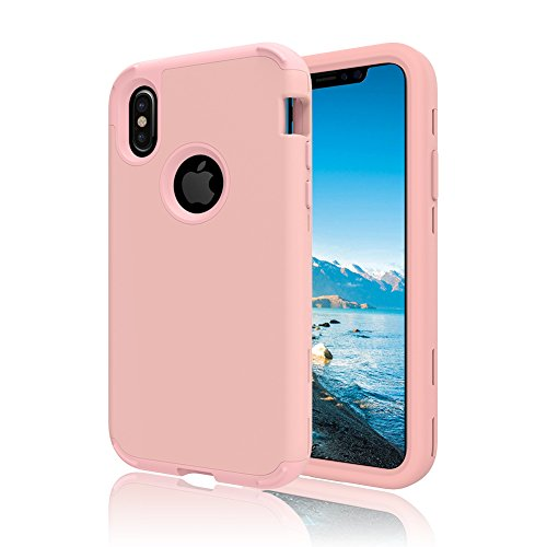 """iPhone X Case, VMAE Three Layer Heavy Duty Hybrid Full Body Defender Protective Cover High Impact Resistant Armor Case For iPhone X / iPhone 10 5.8"""" 2017 Release - Mint RoseGold"""