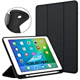 Robustrion Smart Flexible Trifold Flip Stand Case Cover with Pencil Holder for New iPad 9.7 inch 2018/2017 6th/5th Generation - Black