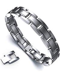 Bracciale Uomo Classic Series Bracciale Uomo Coolman Bracciale Acciaio Pratico ed elegante Bracciale Uomo Semplice Bracciale regolabile 21-22,3 cm con confezione regalo (Argento)