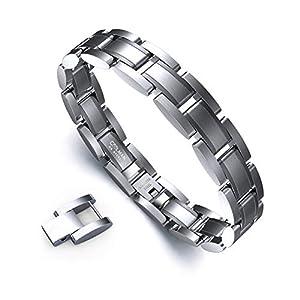 Armband Herren Classic Series Herren Armband Coolman Edelstahl Armband Praktisch und Elegant Herren Armband Einfaches verstellbares Armband 21-22,3 cm mit Geschenkbox (Silber)
