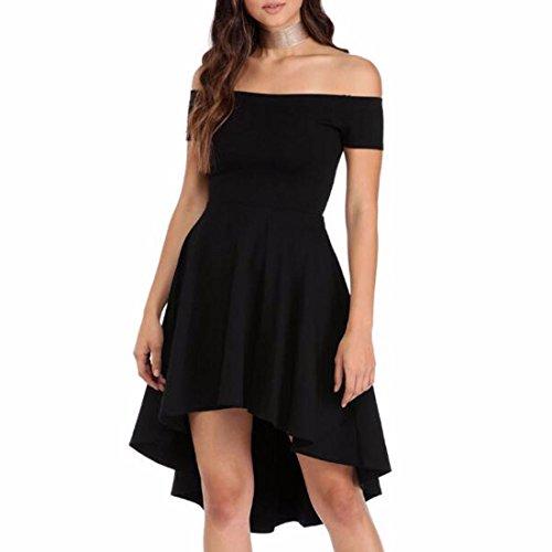 QIYUN.Z Femmes Slash Cou Sexy Une Ligne Irrégulière Ourlet Robe Robe De Soirée Noir