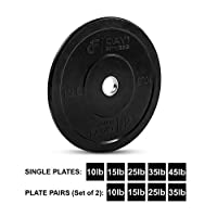 "Day 1 Fitness Olympic Bumper Weighted Plate 2"" for Barbells, Bars - 10 lb Single Plate - Shock-Absorbing, Minimal Bounce Steel Weights with Bumpers for Lifting, Strength Training, and Working Out"