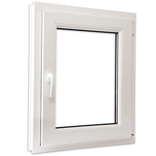 Preisvergleich Produktbild Festnight PVC Fenster Drehkippfenster Kellerfenster mit 2 Fach Verglast Linksseitig Griff 600x800mm