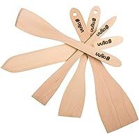 Uulki® 5 graffettatrici Eco-Spatola per alimenti, Set da cucina in legno di faggio, con punta Ardennes-Spatola gira Pancake