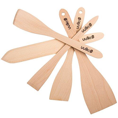 Uulki® 5-tlg. Pfannenwender Set aus Ardenner Buchenholz - Küchenutensilien hergestellt in Europa - Umweltfreundliche Bratenwender / Backschaufel / Spaten und spitzem Pfannkuchenwender /Crepes-Wender