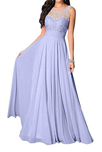 Missdressy Damen Elegant Chiffon Charmeuse Applikation Rundkragen Aermellos Lang Abendkleider Partykleider Festkleider Tanzenkleider-40-Lavendel (Lavendel-kleid-schuhe)