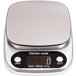 HBlife Bilancia da cucina accurata da 3g a 10000g (10kg) con schermo LCD e funzione tara in acciaio inossidabile