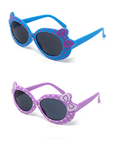 1 x Lila 1 x blaue farbige Kinder Girls stylish cute Designer-Stil Sonnenbrillen hohe Qualität mit einem Bogen und Herz-Stil UV400 Sonnenbrille Schattierungen UVA (Kostüme Aviator Kleinkind)
