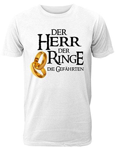 Herren T-Shirt für Den Junggesellenabschied mit Motiv der Herr der Ringe - Die Gefährten (Männer) in Weiss, Größe L