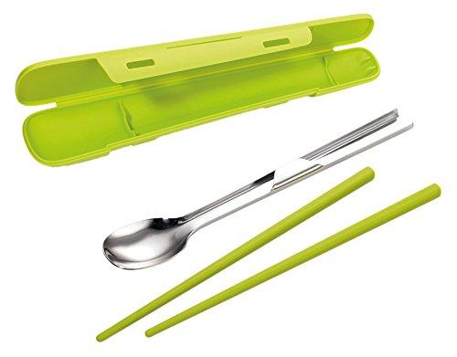 TROIKA Sushi Set SUSHI TO GO - SUS01/GR - Set aus Essstäbchen (Kunststoff) und Löffel (Edelstahl) für unterwegs - lebensmittelecht - mit Box - wasabi grün - das Original von TROIKA