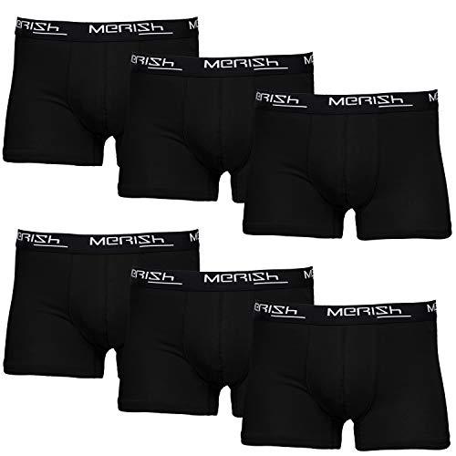 MERISH Boxershorts Men Herren 6er Pack Unterwäsche Unterhosen Männer 406a Schwarz M