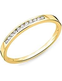 Miore Damen-Ring Memoire 375 Gelbgold Diamant (0.1 ct) weiß Rundschliff