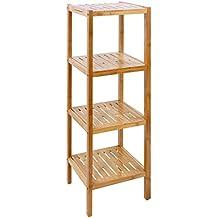 Songmics Estantería de bambú de 4 niveles para hogar y baño Estante de libros 98 x 33 x 33 cm BCB54Y