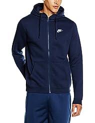 Nike M NSW HOODIE FZ FLC CLUB, Felpa Con Cappuccio Uomo, Blu Ossidiana/Blu Ossidiana/Bianco, L
