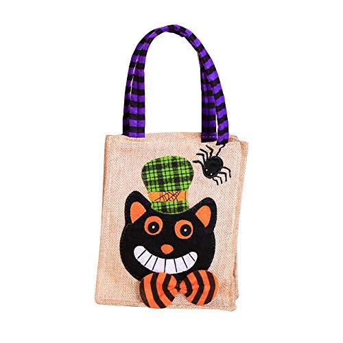 Aolvo Halloween Goodie Taschen, 29x 16cm Halloween Trick or Treat Tragetaschen Leinen 3D Halloween Thema Staubbeutel für Halloween Party Event Schwarze Katze