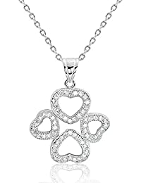 Sterling Silver Cubic Zirconia Wonderful Four Heart Necklace - PRJewel 4 Hearts Pendant