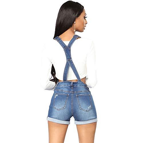 Bmeigo Shorts Dungaree Mujer - Traje De Mezclilla con Botones Desgastados Pantalón Cruzado Azul Elástico