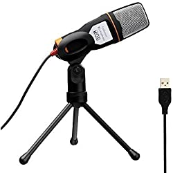 Tonor USB Micrófono de Condensador profesional Podcast Studio para PC / Ordenador portátil con Soporte trípode Negro