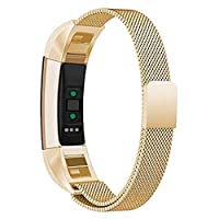 Replacement Bands Compatible for Fitbit Alta and Alta HR Milanese Loop Stainless Steel Metal Bands Bracelet Smart Watch Strap for Women Men - Small, Gold