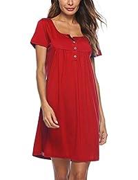 cfe0c00e85910 H-fragra Robe décontractée à Manches Courtes à Manches Longues pour Les Femmes  Robe Droite Robe Longue et Lisse Beaux vêtements Robe…