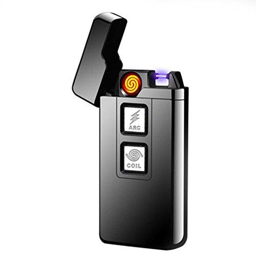 lingan Feuerzeuge USB Arc Feuerzeug Wiederaufladbare Flammenlose winddicht Plasma Coil Elektrische Zigarre Zigarettenanzünder 2in 1Touch Bedienelemente, Schwarz