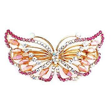 Honeysuck Fashion Frauen Mädchen Strass Schmetterling Haarspange für Haar Clip Zubehör (Pink)